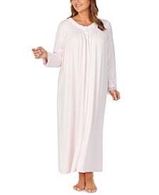 Plus Size Sweater-Knit Lace-Trim Ballet Nightgown