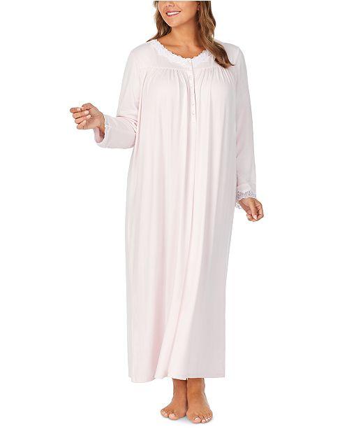 Eileen West Plus Size Sweater-Knit Lace-Trim Ballet Nightgown