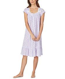Jersey-Knit Floral-Print Venise Lace Waltz Nightgown