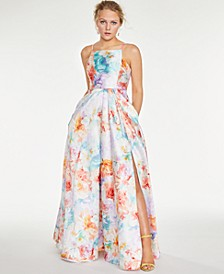 Juniors' Floral Square-Neck Gown