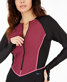 Trigeo Zip-Front Long-Sleeve One-Piece Swimsuit