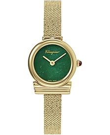Women's Swiss Gancini Gold Ion-Plated Mesh Bracelet Watch 22mm