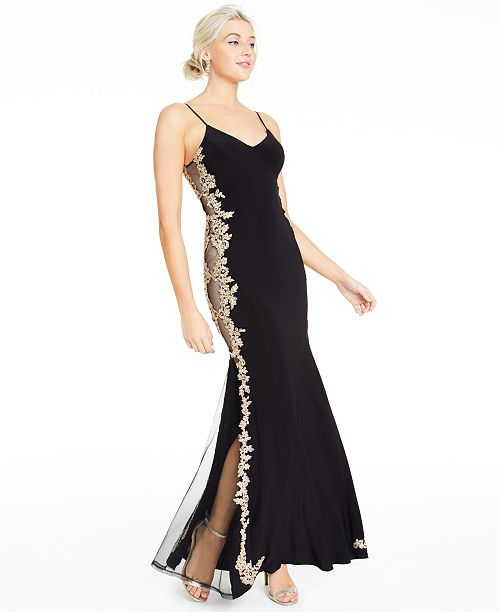 B Darlin Juniors' Embroidered-Side Gown