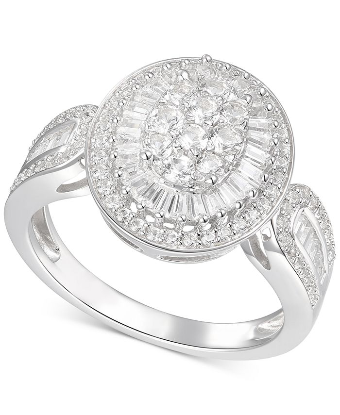 Macy's - Diamond Oval Cluster Statement Ring (1 ct. t.w.) in 14k White Gold