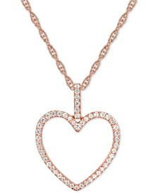 """Diamond Heart 18"""" Pendant Necklace (1/4 ct. t.w.) in 14k Rose Gold"""
