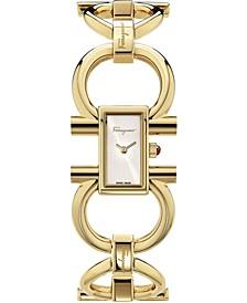 Women's Swiss Double Gancini Gold Ion-Plated Bracelet Watch 14x23mm