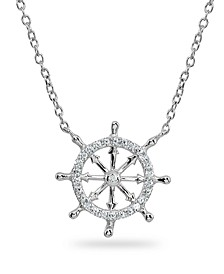 Cubic Zirconia Ship's Wheel Necklace in Sterling Silver or 18k Gold over Sterling Silver
