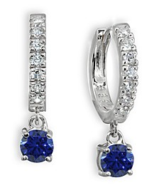 Color Cubic Zirconia Dangle Drop Huggie Hoop Earring in Sterling Silver