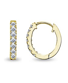 Cubic Zirconia Oval Huggie Hoop Earrings in 18k Gold Plated Sterling Silver