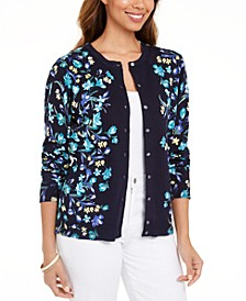 Festive Fields Floral Button Cardigan, Created For Macy's