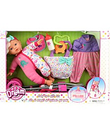 "12"" Baby Doll Care Gift Set with Stroller"