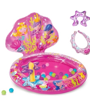 Banzai Mermaid Sparkle Play Center Inflatable Ball Pit -Includes 20 Balls