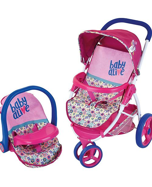 Baby Alive Pretend Play Baby Doll Travel System With Stroller Car