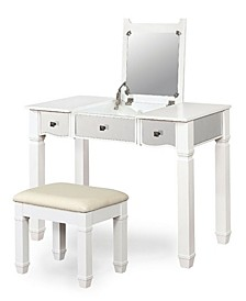 Oldham 2-Piece Wood Vanity Table And Stool Set