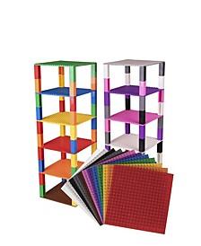 Brik Tower Brick Construction Building Set - 12 Baseplates, 20 x 20 Pegs 80 Stackers