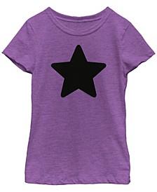 Cartoon Network Big Girl's Steven Universe Amethyst Black Star Icon Short Sleeve T-Shirt