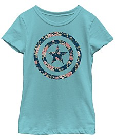 Marvel Big Girl's Captain America Floral Print Short Sleeve T-Shirt