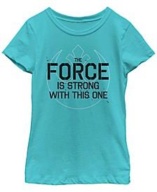 Star Wars Big Girl's Force Is Strong Rebel Fade Symbol Short Sleeve T-Shirt
