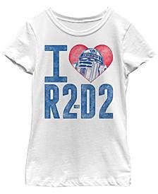 Star Wars Big Girl's I Heart R2-D2 Color Crayon Short Sleeve T-Shirt