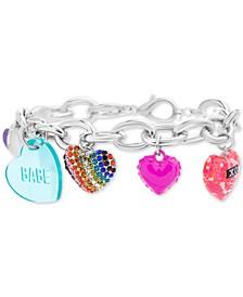 Silver-Tone Pavé Multi-Heart Charm Bracelet