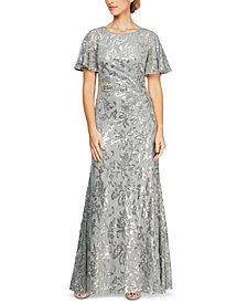 Alex Evenings Petite Sequinned Floral Gown