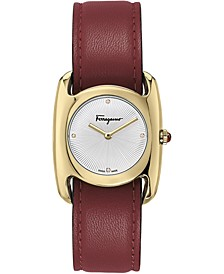 Women's Swiss Vara Red Leather Strap Watch 28x34mm
