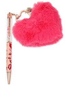 Rose Gold-Tone Lips & Multi-Stone Pom-Pom Heart Charm Pen