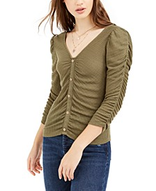 Juniors' Ruched Textured Top