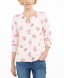 Petite Printed Button-Front Cardigan, Created For Macy's
