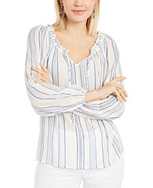 INC Striped Peasant Top, Created For Macy's