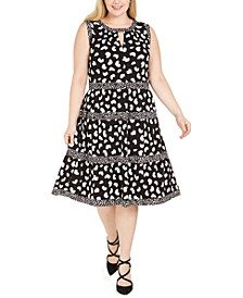Plus Size Mixed-Print Tiered Dress