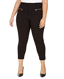 Plus Size Zippered-Pocket Pants