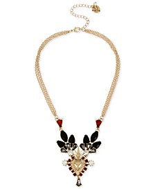 """Gold-Tone Crystal & Imitation Pearl Crowned Heart Statement Necklace, 16"""" + 3"""" extender"""