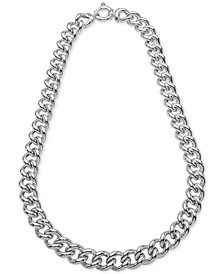 "Heavy Curb Link 18"" Chain Necklace in Sterling Silver, Created for Macy's"