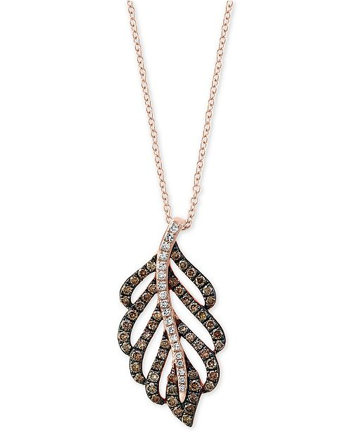 "EFFY Collection EFFY® Diamond Feather 18"" Pendant Necklace in 14k Rose Gold"