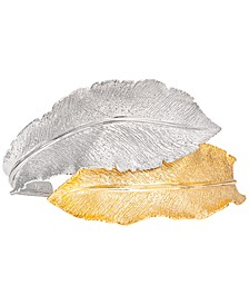 Two-Tone Textured Leaf Cuff Bracelet in Sterling Silver & 18k Gold-Plate, Created for Macy's