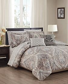 Tisdale 9-Piece Printed Reversible King Comforter Set