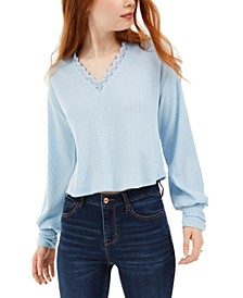 by Topson Juniors' Lace Trim Thermal Top