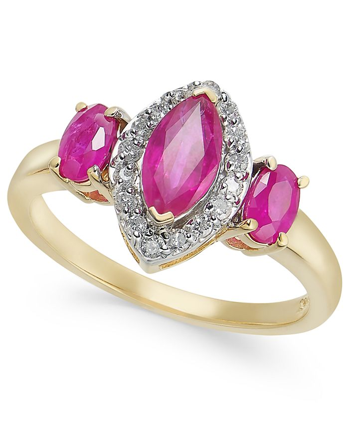 Macy's - Certified Ruby (1-3/8 ct. t.w.) & Diamond (1/6 ct. t.w.) Marquise Statement Ring in 14k Gold