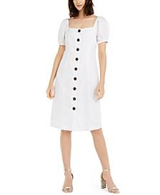 INC Puff-Sleeve Linen Midi Dress, Created for Macy's
