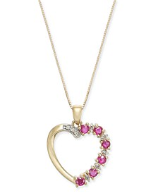 "Certified Ruby (5/8 ct. t.w.) & Diamond (1/20 ct. t.w.) Open Heart 18"" Pendant Necklace in 14k Gold"