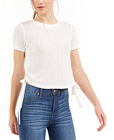 Love, Fire Juniors' Side-Ruched Pointelle Top