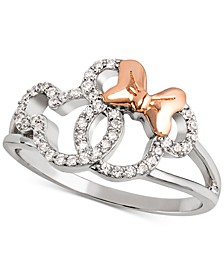 Cubic Zirconia Mickey & Minnie Openwork Ring in Sterling Silver & 18k Rose Gold-Plate