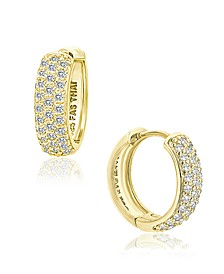 Cubic Zirconia Oval Huggie Hoop Earrings in Sterling Silver or 18k Gold Plated Sterling Silver