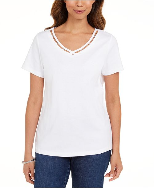 Karen Scott Cotton Open-Trim V-Neck T-Shirt, Created for Macy's