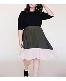 Women's Plus Size Asymmetric Pleated Midi Skirt