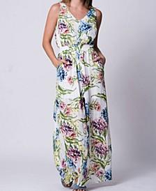 Jungle Bouquet Print Button Down Maxi Dress