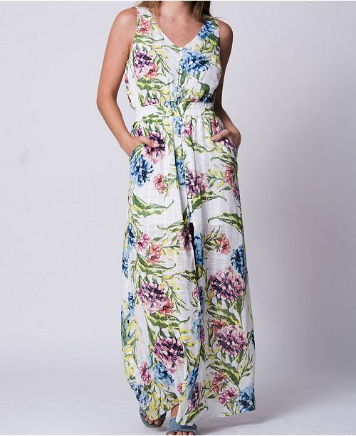 Wanderlux Jungle Bouquet Print Button Down Maxi Dress