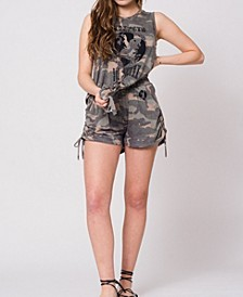 Camo Tie-Front Strength In Unity Graphic Tank Top