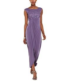 Lace & Solid Faux-Wrap Gown